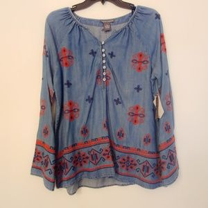 Chelsea & Theodore | Chambray Aztec Tunic Medium